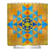 Blue And Gold Yantra Meditation Mandala Shower Curtain