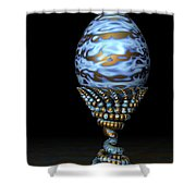 Blue And Golden Egg Shower Curtain