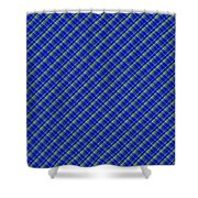 Blue And Green Diagonal Plaid Pattern Cloth Background Shower Curtain