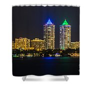 Blue And Green Diamond Twin Towers Shower Curtain