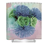 Blue And Green Flowers Shower Curtain