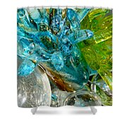 Blue And Green Glass Abstract Shower Curtain
