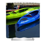 Blue And Green Kayaks Shower Curtain