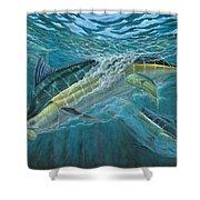 Blue And Mahi Mahi Underwater Shower Curtain by Terry Fox