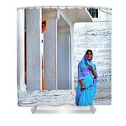 Blue And Orange - Peeking Out Shower Curtain
