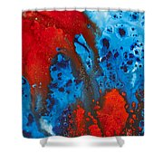 Blue And Red Abstract 3 Shower Curtain by Sharon Cummings