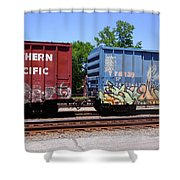 Blue And Red Shower Curtain