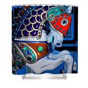 Blue And Red Carousel Horse Shower Curtain