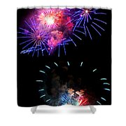 Blue And Red Firework Disks Shower Curtain