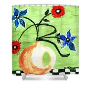 Blue And Red Flowers Shower Curtain