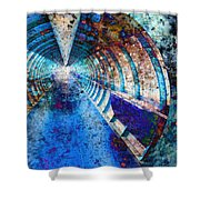 Blue And Rust Grunge Tunnel Shower Curtain