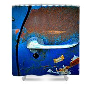 Blue And Rusty Picking Shower Curtain