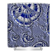 Blue And Silver 1 Shower Curtain