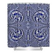 Blue And Silver 2 Shower Curtain