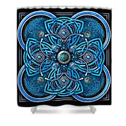 Blue And Silver Celtic Cross Shower Curtain