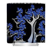 Blue And Silver Fractal Tree Abstract Artwork Shower Curtain