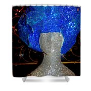 Blue And Silver Girl Shower Curtain