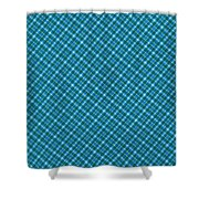 Blue And Teal Diagonal Plaid Pattern Textile Background Shower Curtain