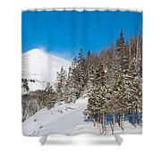 Blue And White Colorado Winter Shower Curtain