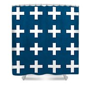 Blue And White Plus Sign Shower Curtain