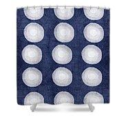 Blue And White Shibori Balls Shower Curtain