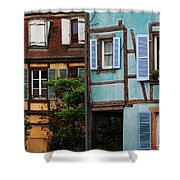 Blue And Yellow Buildings In La Petite Venise In Colmar France Shower Curtain