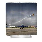 Blue Angels Fa 18 With Grumman Biplane Shower Curtain