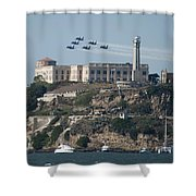 Blue Angels Over Alcatraz Shower Curtain