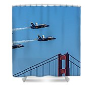 Blue Angels Over The Golden Gate Shower Curtain