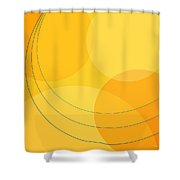 Blue Arcs Through Orange Landscape Shower Curtain