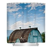 Blue Barn In The Stillaguamish Valley Shower Curtain