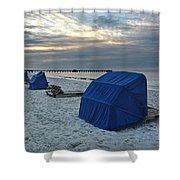 Blue Beach Chairs Shower Curtain