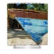 Blue Beached Canoe Shower Curtain