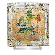 Blue Berries And Butterfly On Vintage Tin Shower Curtain