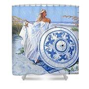 Blue Berry Beach  Shower Curtain