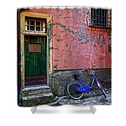 Blue Bicycle Monterosso Italy Dsc02592  Shower Curtain