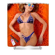 Blue Bikini 16-2p Shower Curtain