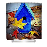 Blue Bird House Shower Curtain