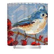 Blue Bird In Winter - Tuft Titmouse Modern Impressionist Art Shower Curtain