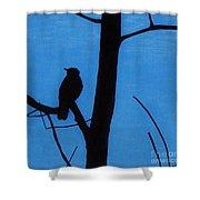 Blue - Silhouette - Bird Shower Curtain