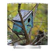 Blue Birdhouse Shower Curtain
