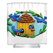Blue Birds Fly Home Shower Curtain