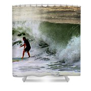Blue Board Shower Curtain by Karen Wiles
