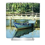 Blue Boat 02 Shower Curtain
