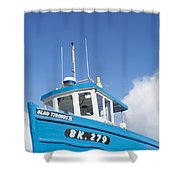Blue Boat Blue Sky Shower Curtain