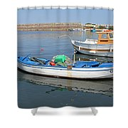 Blue Boat In Sozopol Harbour Shower Curtain