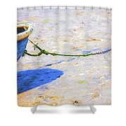 Blue Boat On Mudflat Shower Curtain
