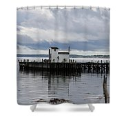 Blue Boat On The Wharf Shower Curtain