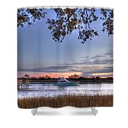 Blue Boat Passing Shower Curtain
