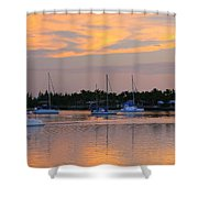 Blue Boats At Sunset Shower Curtain